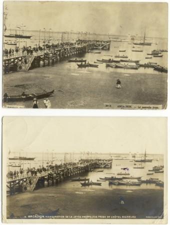 En haut carte-photo primitive, en bas la même dans la série des 81